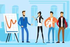 Zufällige der Gruppen-Geschäftsleute Darstellungs-Flip Chart Finance, Wirtschaftler Team Training Conference Meeting Stockbild