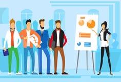 Zufällige der Gruppen-Geschäftsleute Darstellungs-Flip Chart Finance, Wirtschaftler Team Training Conference Meeting Lizenzfreie Stockbilder
