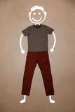 Zufällige Kleidung mit Hand gezeichnetem lustigem Charakter Lizenzfreies Stockbild