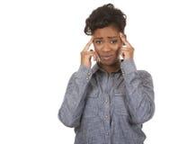 Frau und Kopfschmerzen lizenzfreies stockbild