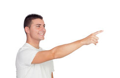 Zufälliger blonder Mann, der etwas zeigt Lizenzfreie Stockfotografie