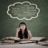 Zufälliger Student denkt ihre Ideale Stockfotos