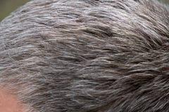 Zufälliges Lächeln der Frage des älteren Mannes und des Haarausfalls stockfoto