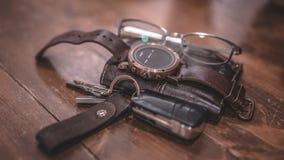 Zufälliges Lebensstil-Mann-Mode-Accessoire-Foto stockfotos