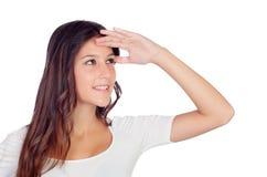 Zufälliges Mädchen, das zur Seite schaut Lizenzfreies Stockfoto