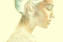 Zufälliges schönes Mädchenporträt für Kunstzeichnungsdesign gefärbt auf beige Hintergrund Fantasieart Abbildung stockbilder