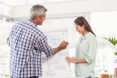 Zufällige Geschäftskollegen, die Darstellung vorbereiten Stockbilder