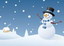 Zufrieden gestellter Schneemann Stockfoto