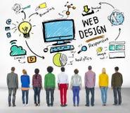 Zufriedene Kreativität grafisches Webdesign-Webseiten-Konzept Stockfotografie