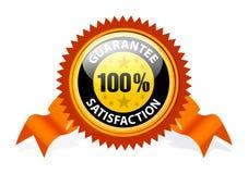 Zufriedenheit 100% garantiertes Zeichen Stockbilder