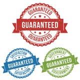 Zufriedenheit, garantiert, empfohlen, Vektorausweisaufkleberstempeltag für Produkt, vermarktend, on-line-Shop- oder Netze-commerc lizenzfreie abbildung