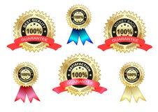 Zufriedenheit und beste Qualitätskennsatzfamilie Stockfoto