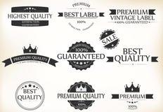 Zufriedenheitsgarantie-Aufkleber und Weinlese-erstklassiger Qualitätssatz Stockfoto