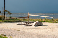 ZufuhrSalzwasser im Salzmuseum in Pomorie, Bulgarien Stockbild
