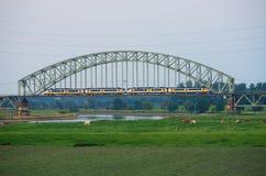 Zug auf Bahnbrücke Stockfotos