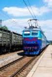 Zug auf dem Bahnhof Kyiv, Ukraine Lizenzfreie Stockfotos