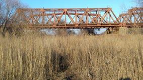 Zug-Brücke über Feld in Ukraine Lizenzfreie Stockfotos