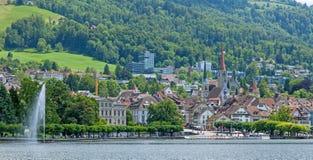 Zug cityscape. Zug city in Switzerland, cityscape with lake Zug Stock Images