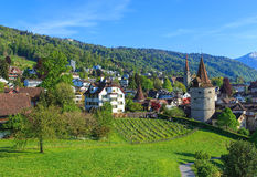 Zug cityscape in springtime. View in the Swiss city of Zug in spring Stock Photo