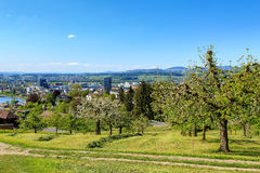 Zug cityscape in springtime. View in the Swiss city of Zug in spring Stock Image