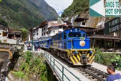 Zug in den Aguas-Kunden oder in Machu Pichu Stockfoto