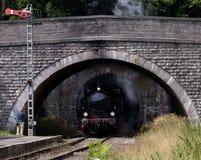 Zug, der den Tunnel herausnimmt Stockfotografie