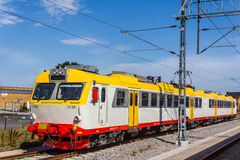 Zug an der Station in Karlskrona Stockbilder