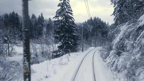 Zug in der Winterwaldszene stock video footage