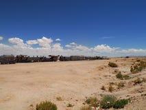 Zug-Friedhof in Uyuni, Bolivien stockfoto