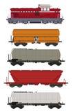 Zug-gesetzte Fracht-Lastwagen und Lokomotive Stockbilder