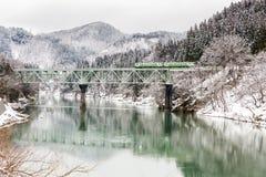 Zug im Winterlandschaftsschnee Lizenzfreie Stockfotos