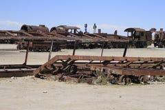 Zug-Kirchhof, Uyuni Bolivien Lizenzfreie Stockbilder