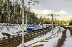 Zug kommt in Moskau an Lizenzfreie Stockfotos