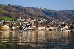 Zug and lake. Zug and its lake, Switzerland Stock Photos