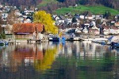 Zug and lake. Zug and its lake, Switzerland Royalty Free Stock Photo