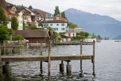 Zug lake in Switzerland. View on the old part of Zug port, Switzerland Stock Photo