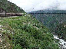 Zug in Richtung zur Brücke Stockfotografie