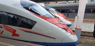 Zug Sapsan auf der Plattform der Station stockfotografie