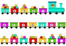 Zug-Spielzeugmathe, das Spiel zählt Stockfotos