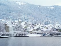 Zug Suisse pendant l'hiver Photographie stock libre de droits