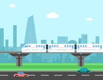 Zug und Stadtbild Transportvektorkonzept Stockfotos