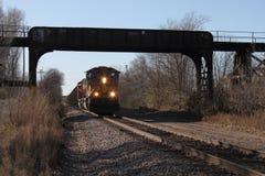 Zug unter einer Brücke Lizenzfreies Stockbild