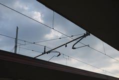 Zug verkabelt Schattenbild stockfotografie