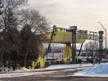 Zugbrücke über dem Oswego-Fluss stockfotografie