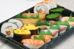 Zugebereitete und köstliche Sushi eingelassenes Studio Lizenzfreie Stockfotografie