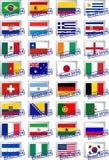 Zugelassene Briefmarken mit Flaggen Stockfotografie