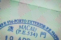 Zugelassener Stempel von Macao-Visum für Immigrationsreisekonzept Stockfotos