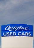 Zugelassenes Gebrauchtwagen-Zeichen Lizenzfreie Stockbilder