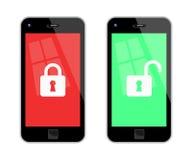 Zugeschlossene und entriegelte intelligente Telefone Lizenzfreies Stockbild