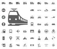 Zugikone Schnellzugikone Gesetzte Ikonen des Transportes und der Logistik Gesetzte Ikonen des Transportes Stockfotos